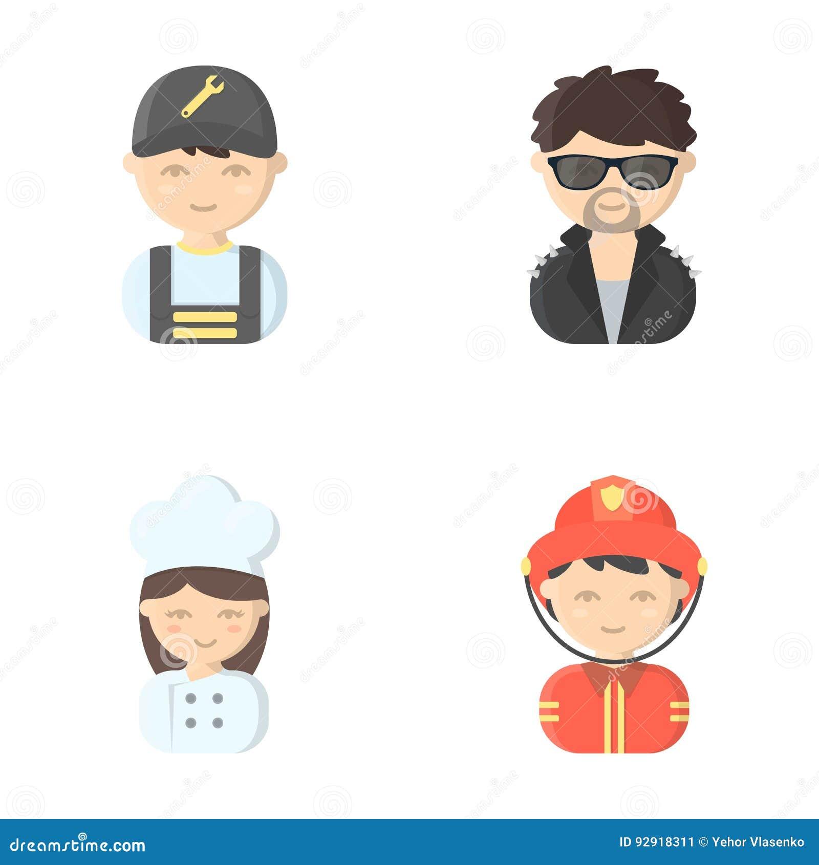 Mechanik, artysta estradowy, kucharz, palacz Zawód ustalone inkasowe ikony w kreskówka stylu wektorowym symbolu zaopatrują ilustr