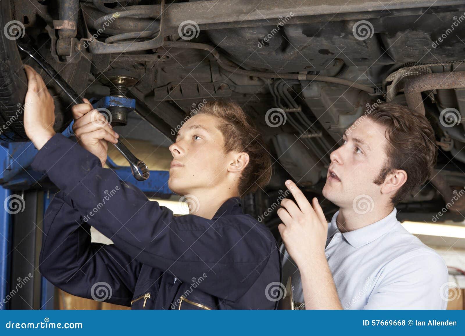 Mechanik I aplikant Pracuje Na samochodzie Wpólnie