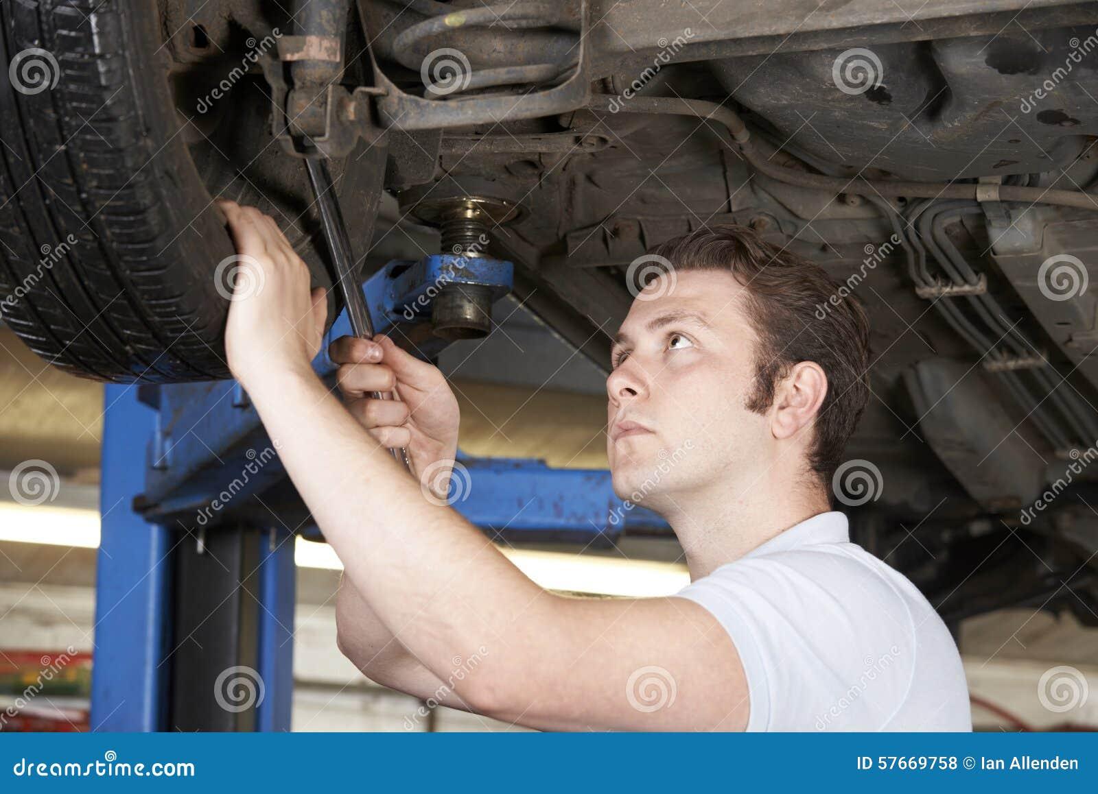 Mechanik Pracuje Na kole Pod samochodem