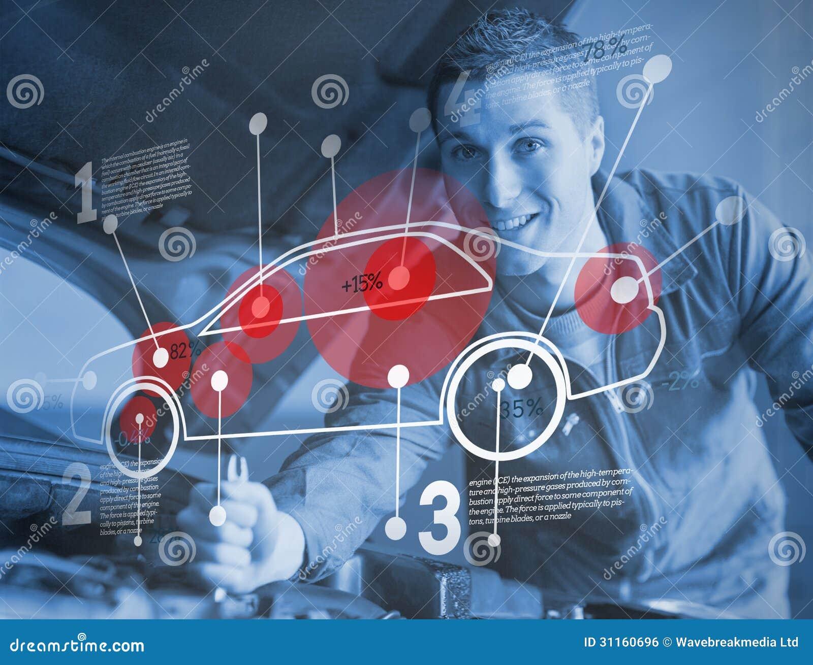 Mechanika reparing samochód podczas gdy konsultujący futurystycznego interfejs