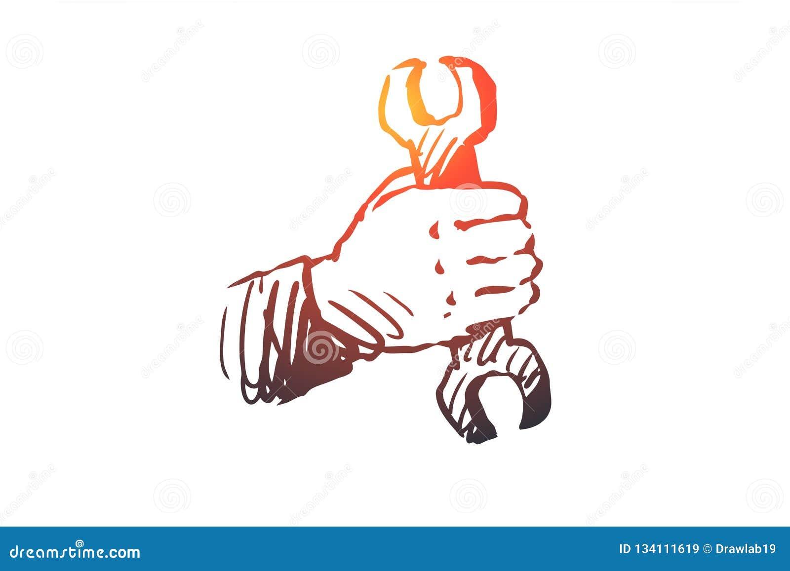 Mechaniker, Schlüssel, Reparatur, Werkzeug, Heimwerkerkonzept Hand gezeichneter lokalisierter Vektor