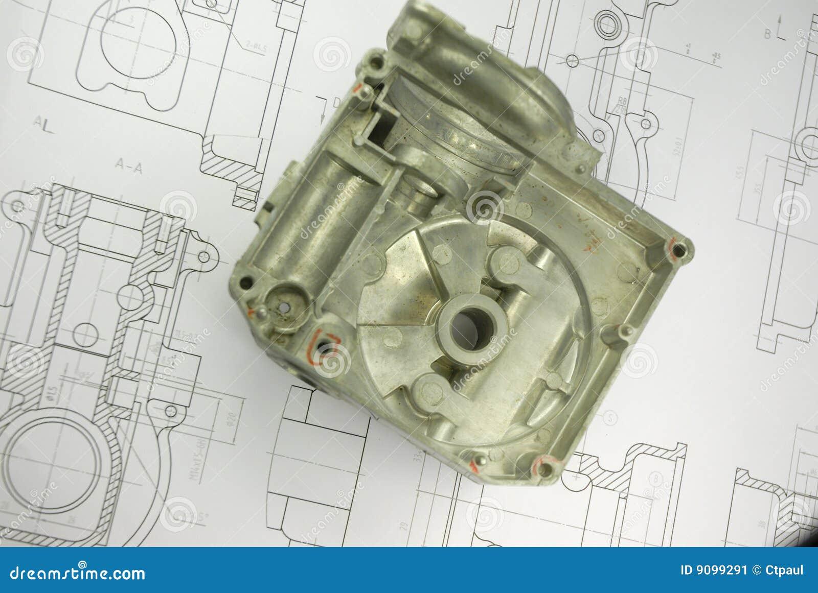 Mechanisches Teil auf Konstruktionszeichnung