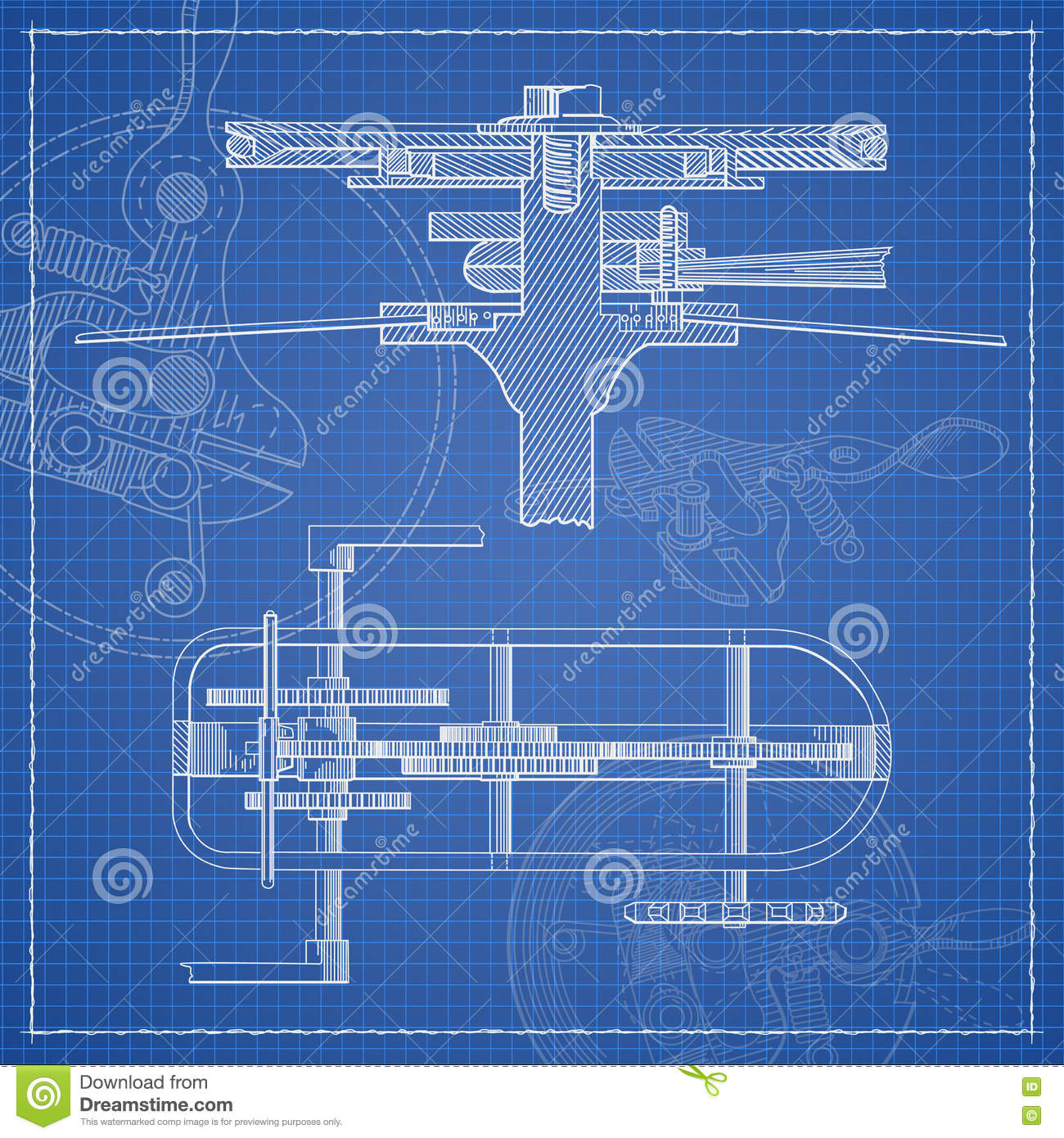 Mechanism blueprint stylized draft stock vector for How to make a blueprint