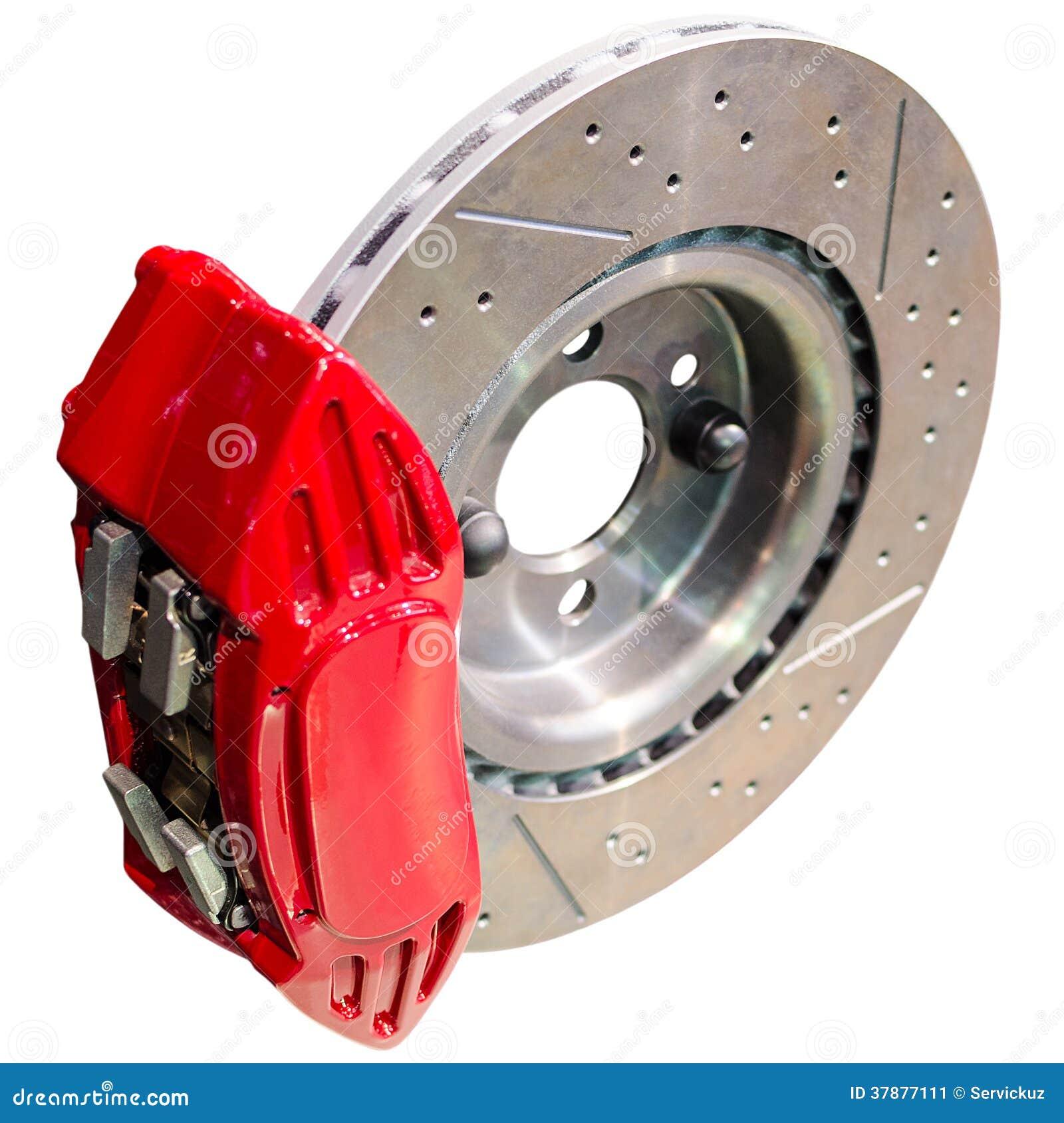 Mechanisme van automobiele schijfremmen: geassembleerde beugel met schijf