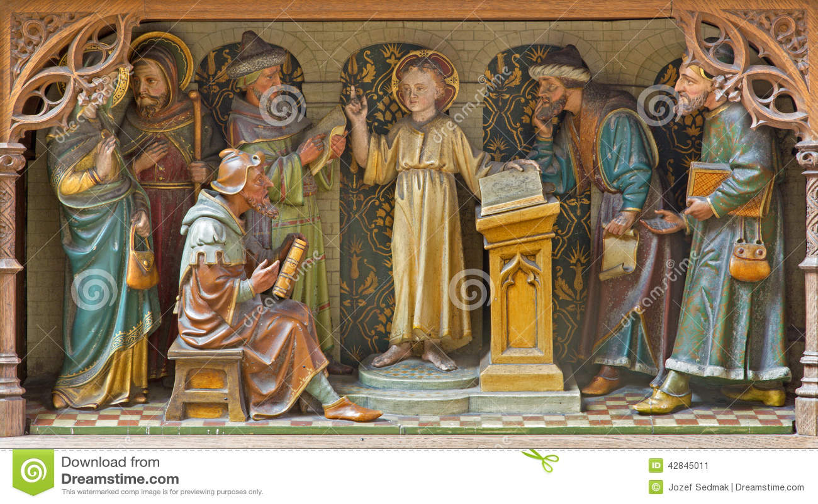 Mechelen - geschnitzte bildhauerische Gruppe - Jungen-Jesus-Unterricht im Tempel - Kirche unsere Dame über de Dyle