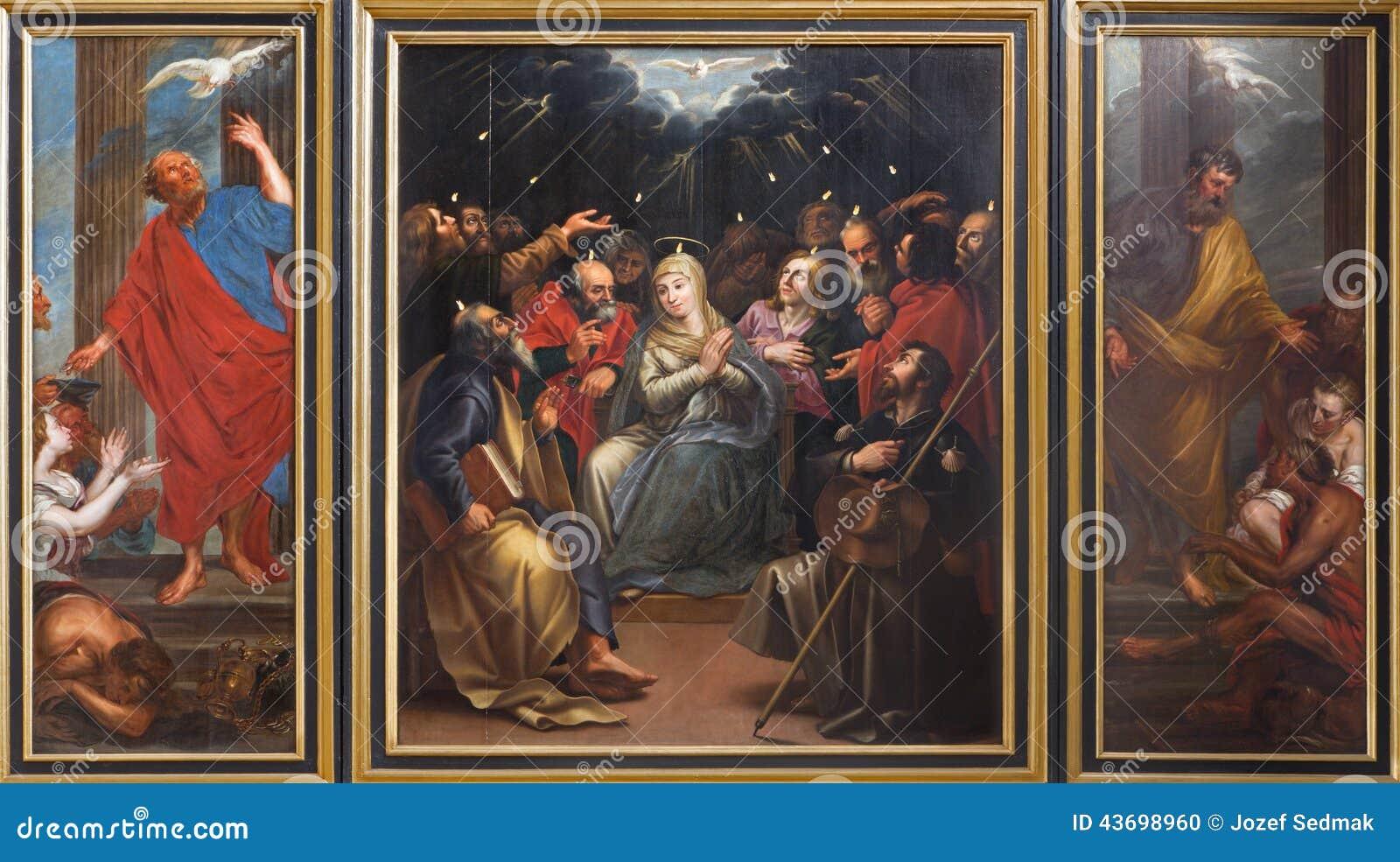 Mechelen - Tryptich da cena do domingo de Pentecostes por pintor desconhecido na igreja ou no Janskerk de St Johns