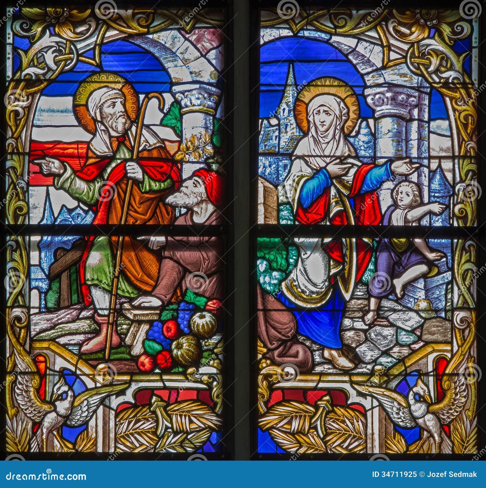 Mechelen - znalezienie przegrany Jezus od windowpane St. Rumbold katedra