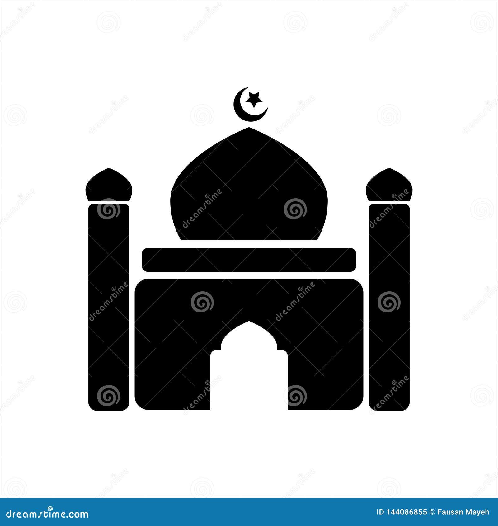 Meczetowa ikona Meczetowy symbolu projekt Prostego elementu wektorowa ilustracja na białym tle