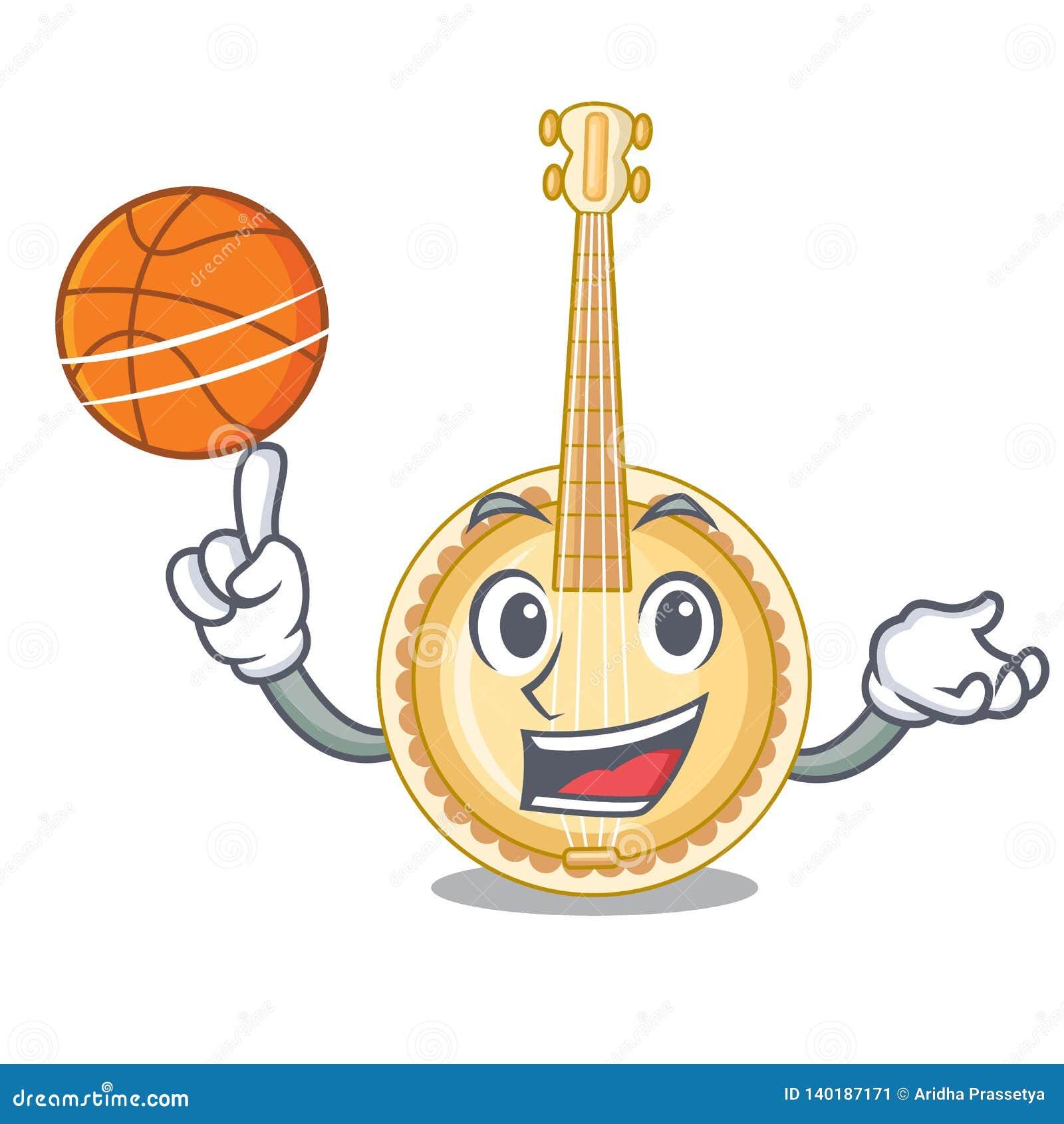 Med den gamla banjon för basket i formmaskot