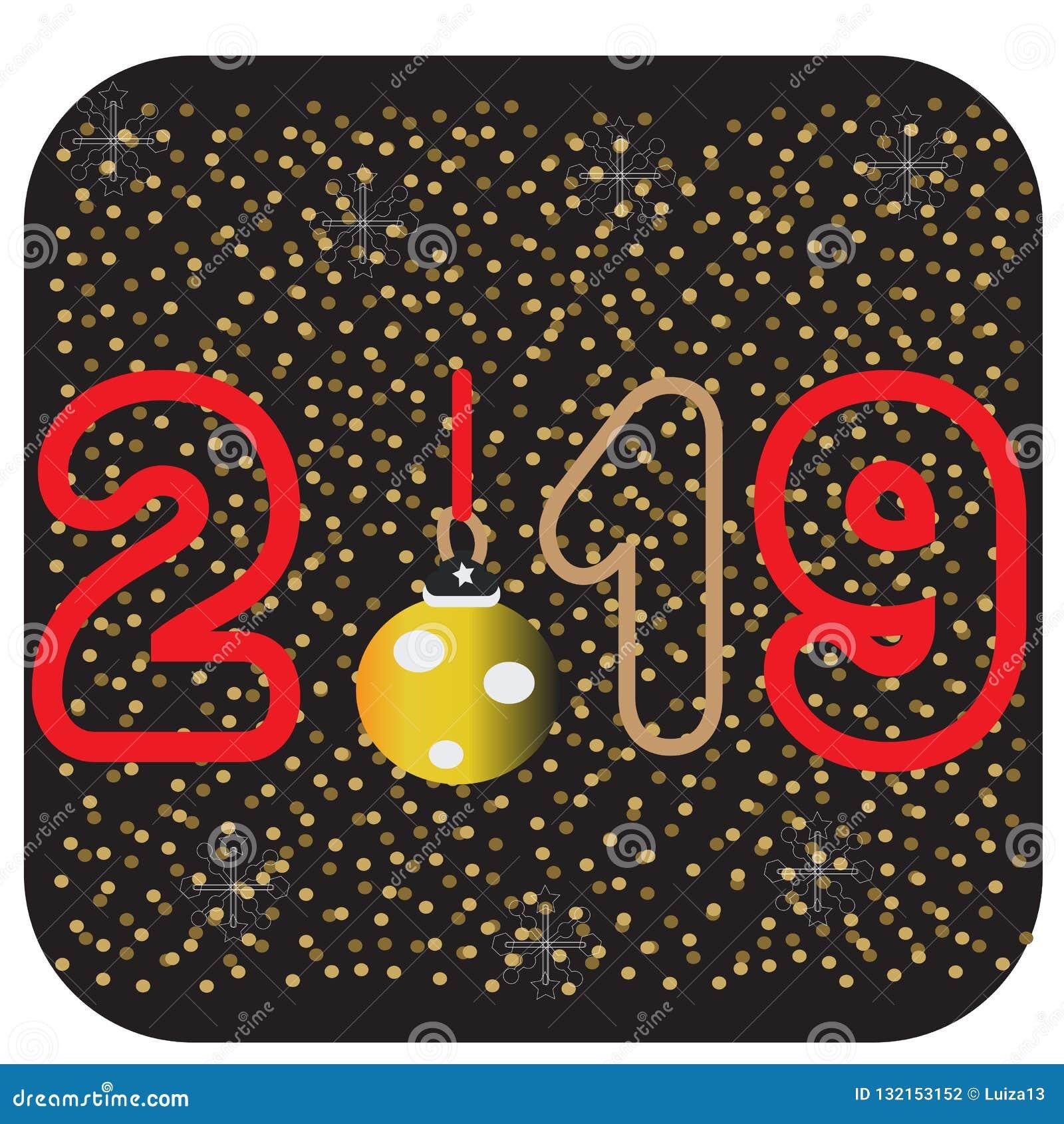 2019 med guld- Christmassnowflakes på en svart bakgrund Kortdesign för lyckligt nytt år Mapp för vektorillustrationEps 10