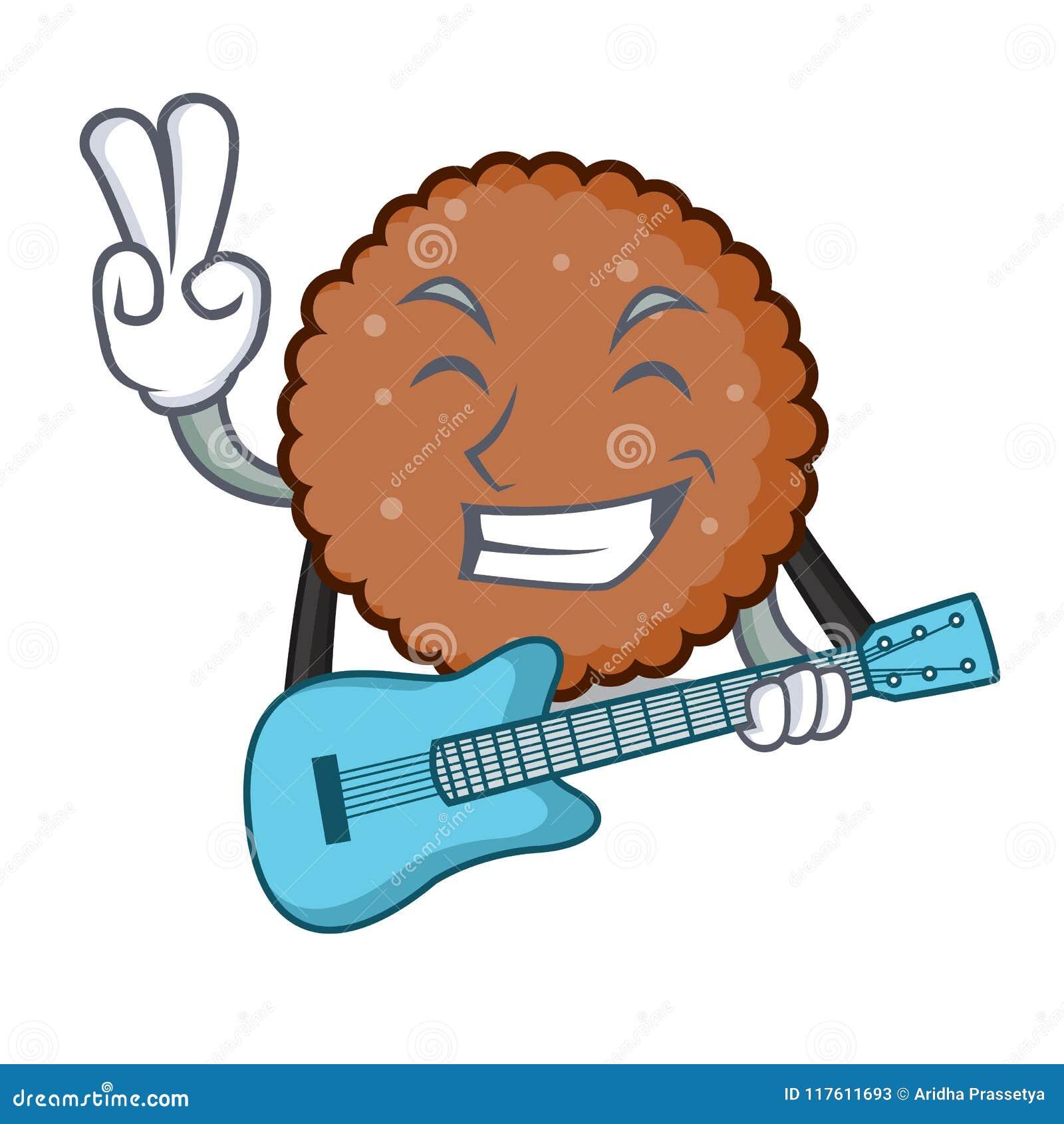 Med tecknade filmen för maskot för gitarrchoklad den ljusbruna