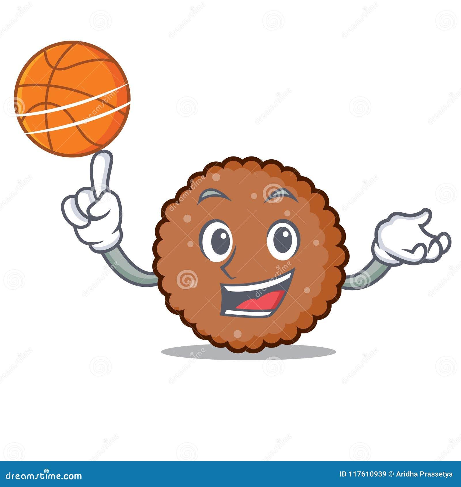 Med tecknade filmen för tecken för basketchoklad den ljusbruna