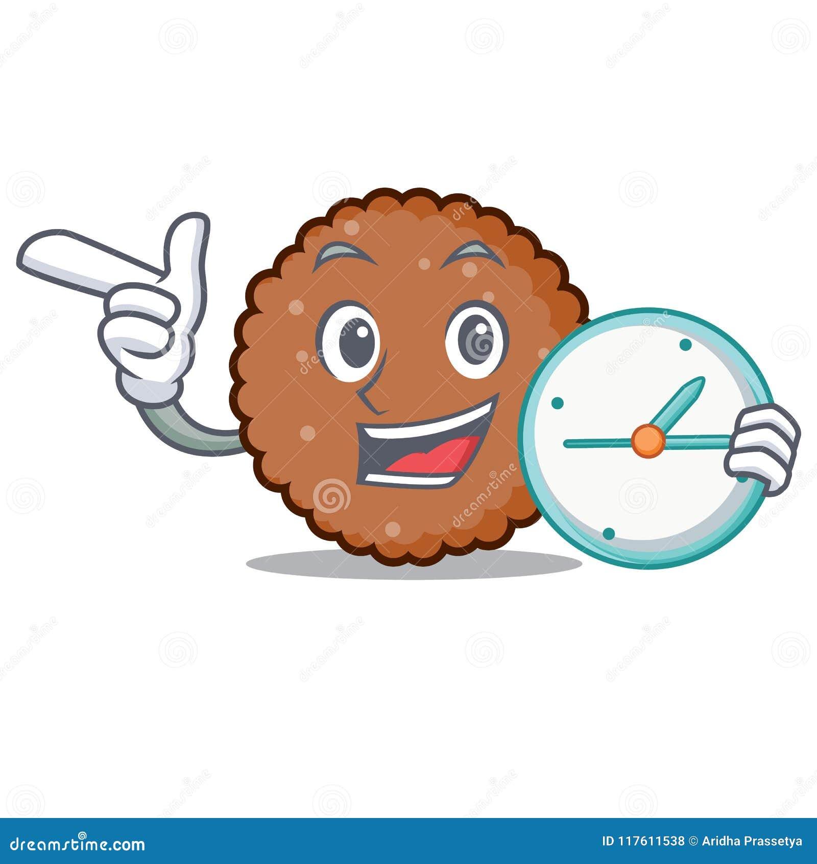 Med tecknade filmen för tecken för klockachoklad den ljusbruna