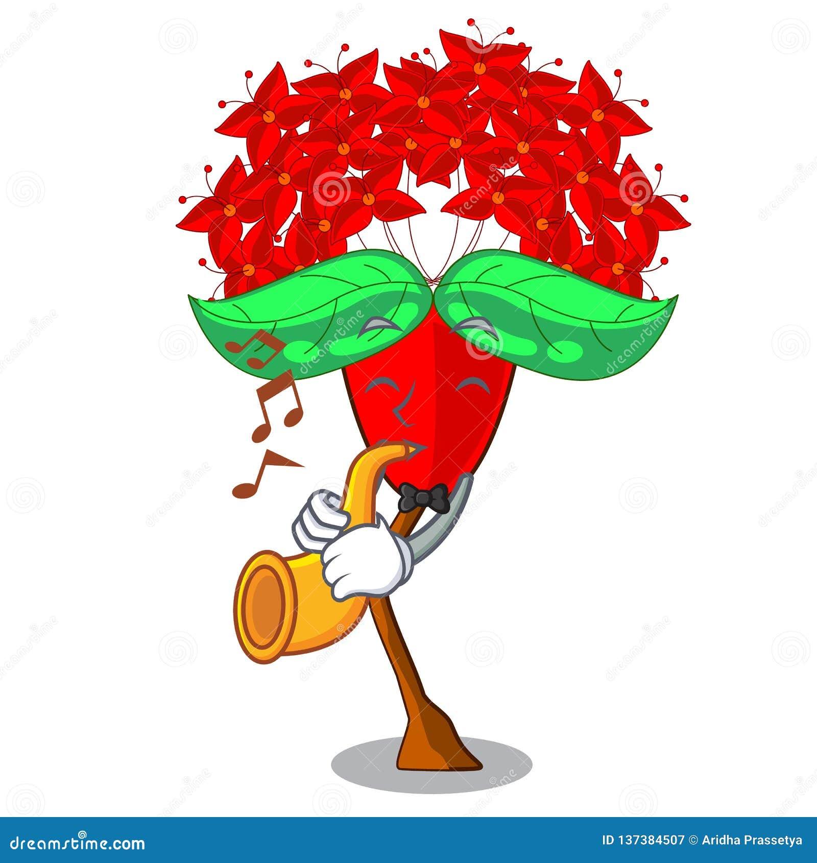 Med trumpetIxora blommor i tecknad filmkrukorna