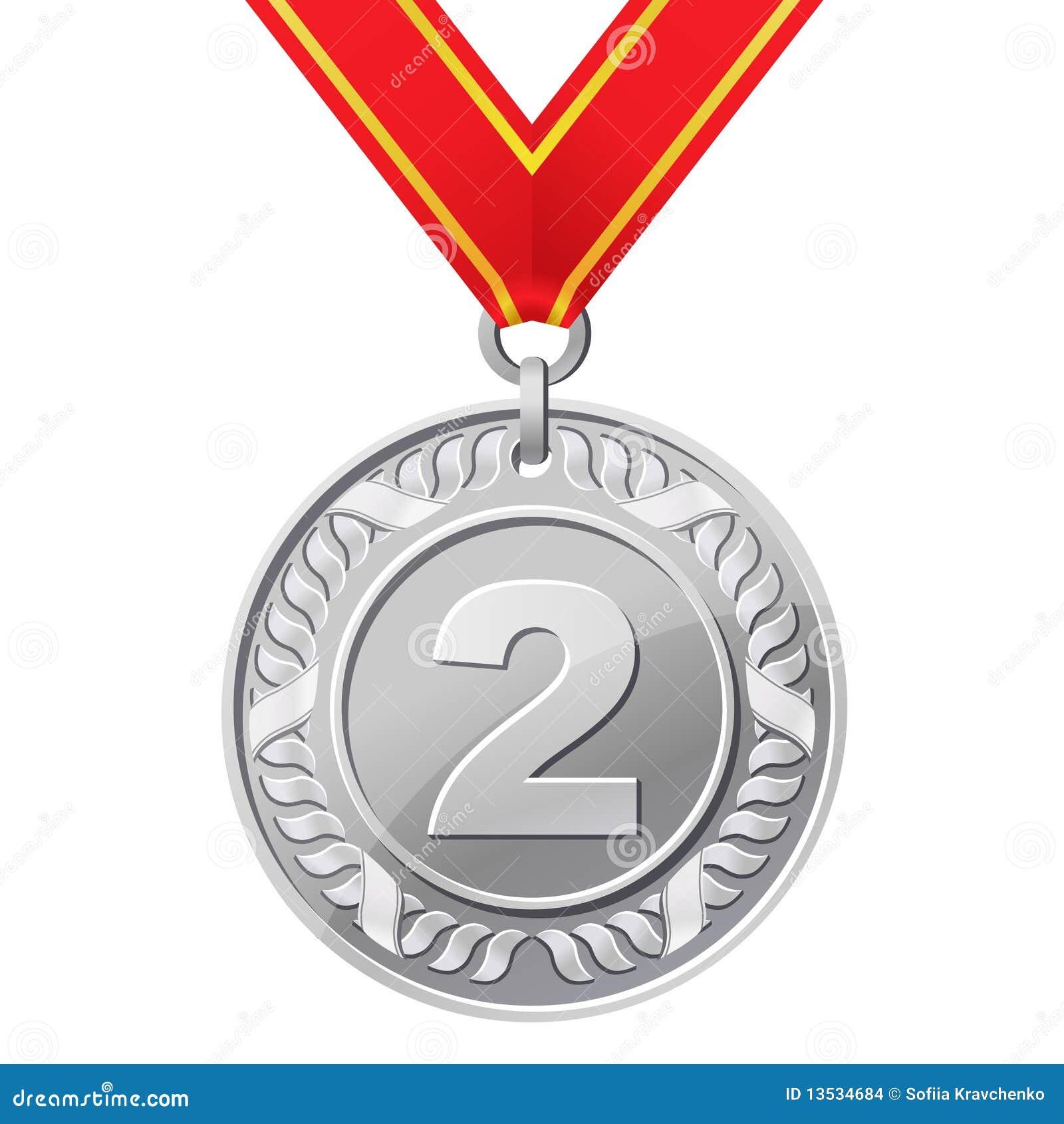 Medaglia d'argento illustrazione vettoriale. Illustrazione di successo -  13534684