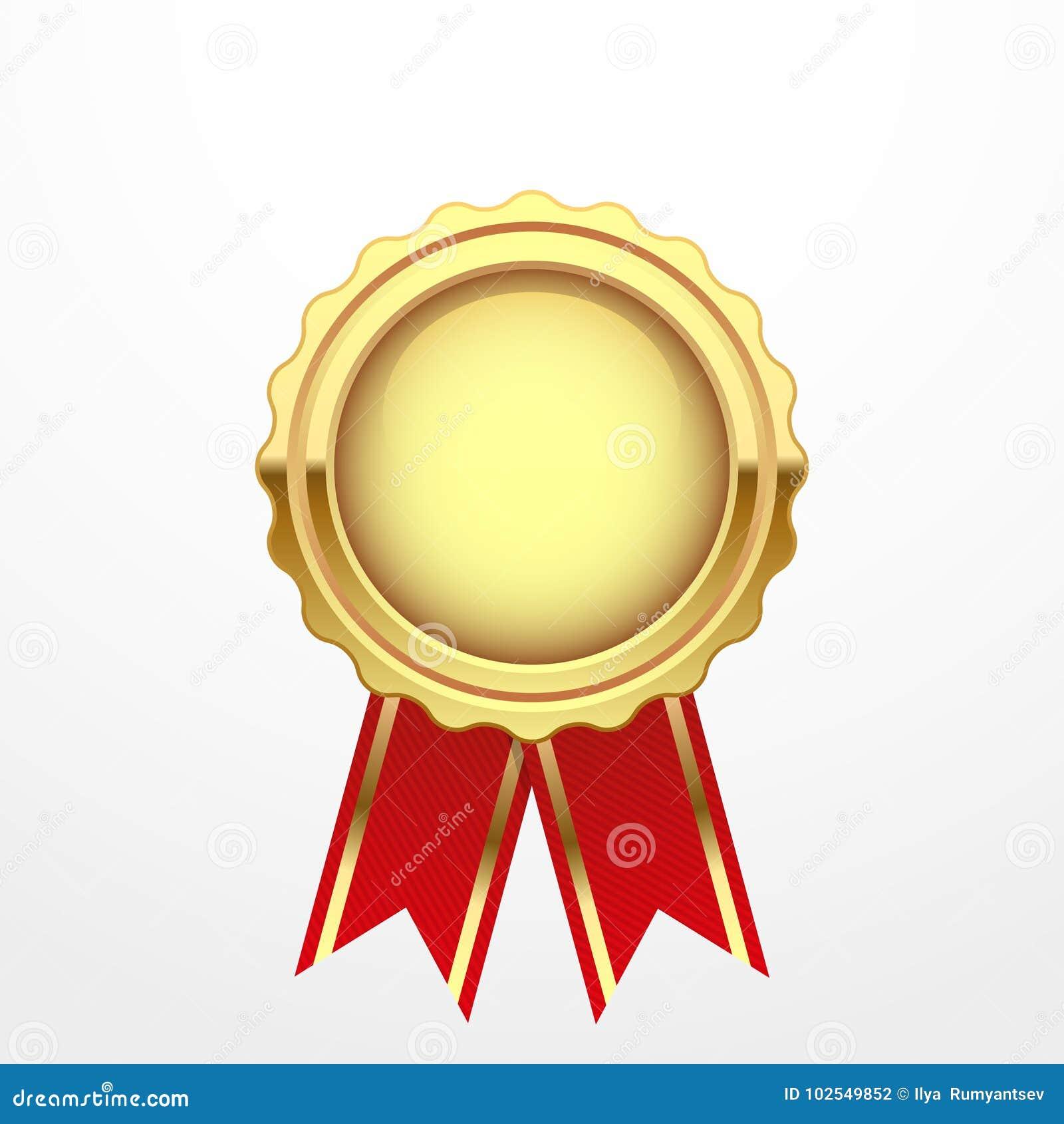Medaglia di oro con il nastro rosso