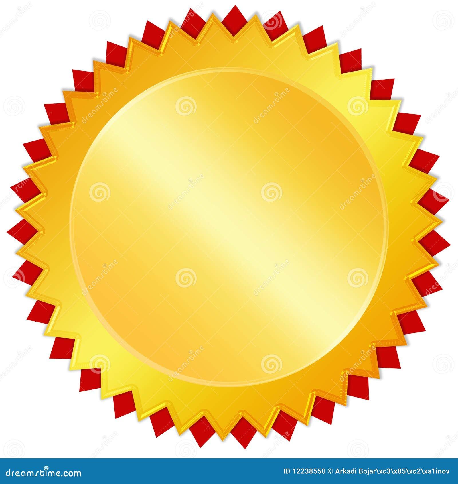 Medaglia dorata in bianco del premio