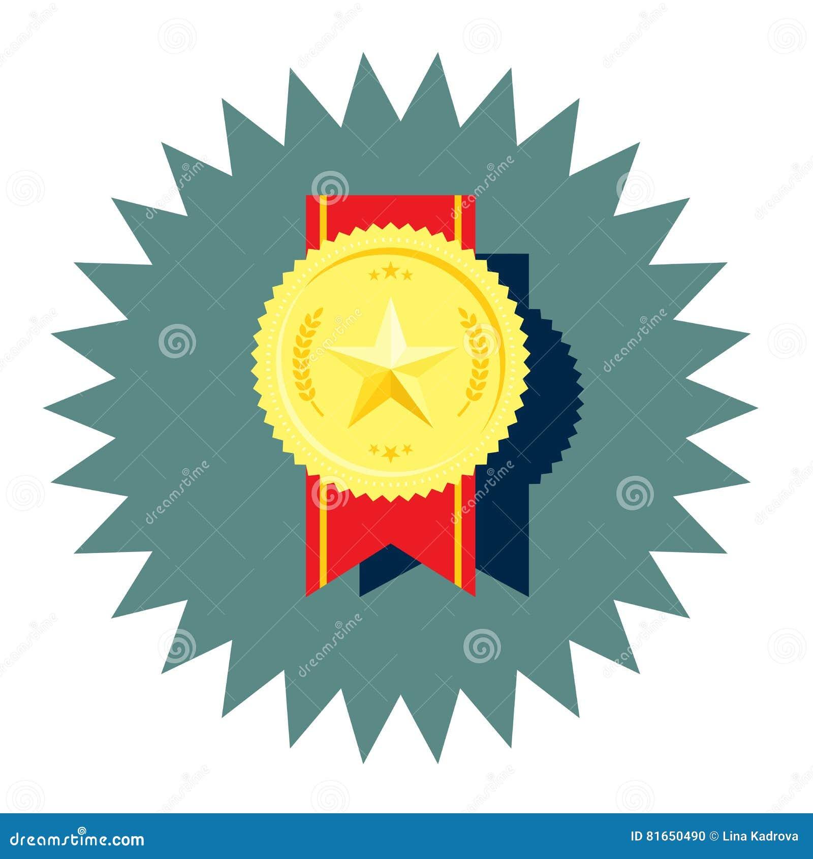 Medaglia dorata con la stella ed il vettore rosso del nastro