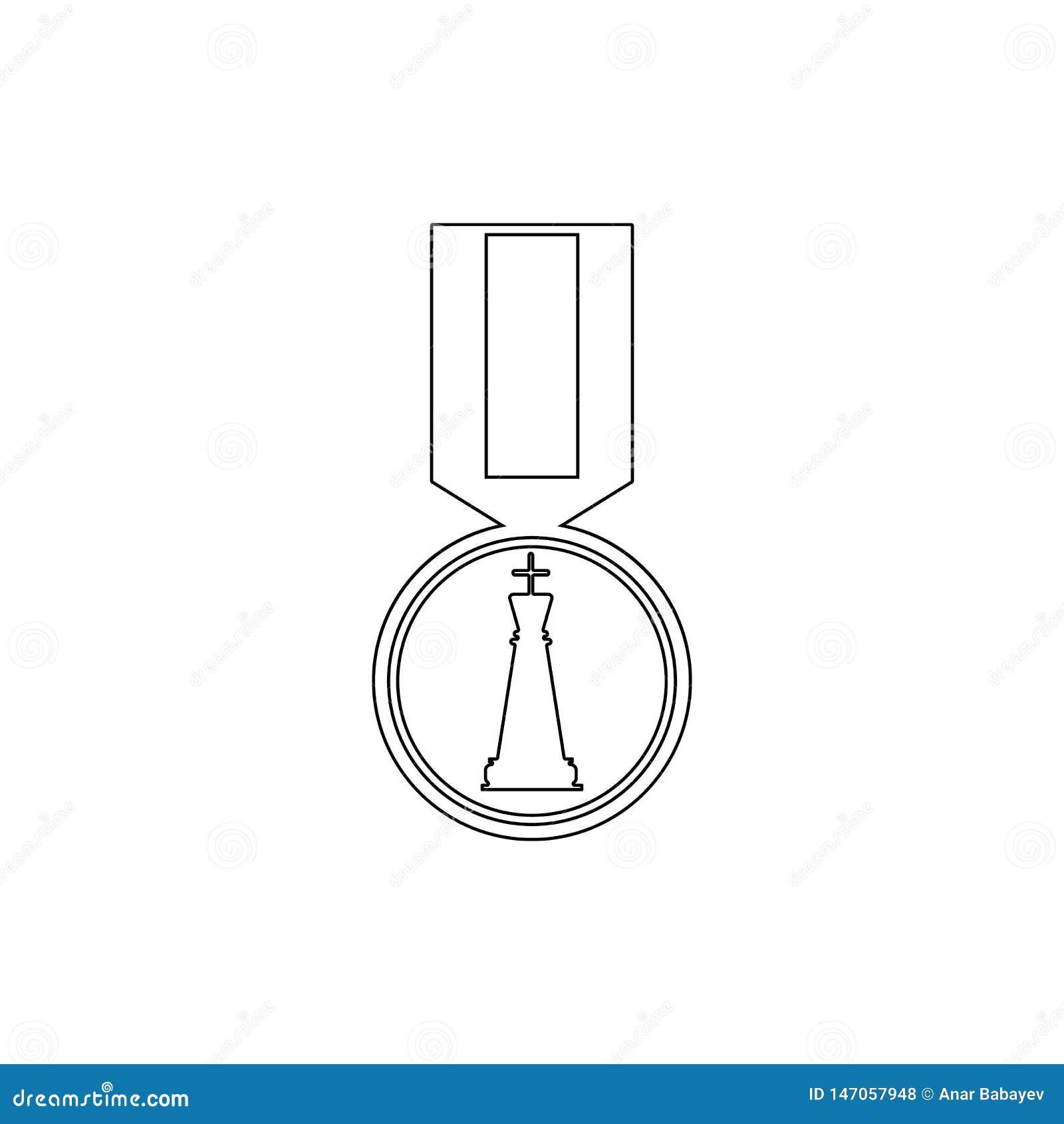 Medaille f?r Schachikone Element des Schachs f?r bewegliche Konzept und Netz apps Illustration D?nne Linie Ikone f?r Websitedesig