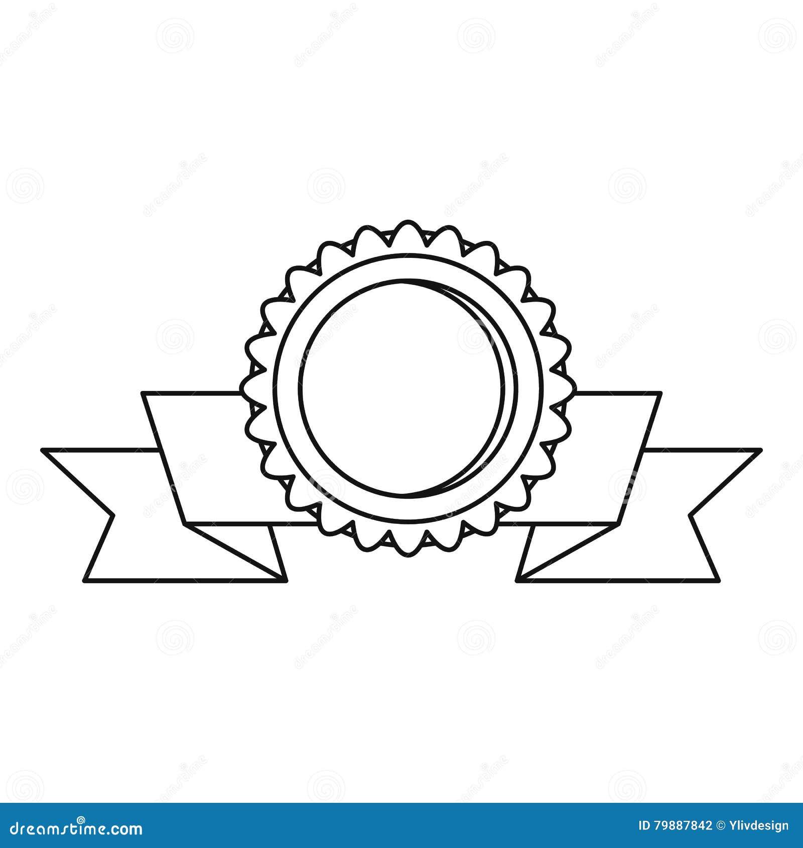 medaille met lintpictogram overzichtsstijl vector