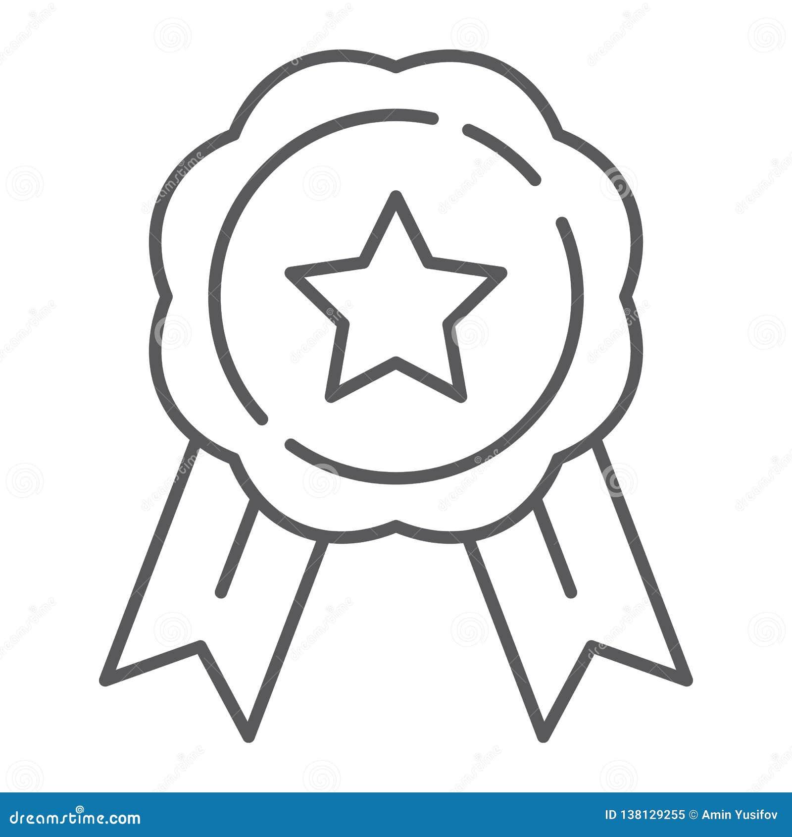 Medal cienka kreskowa ikona, nagroda i osiągnięcie, odznaka znak, wektorowe grafika, liniowy wzór na białym tle