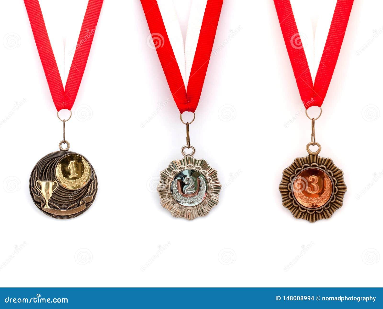 Medal set red white ribbon