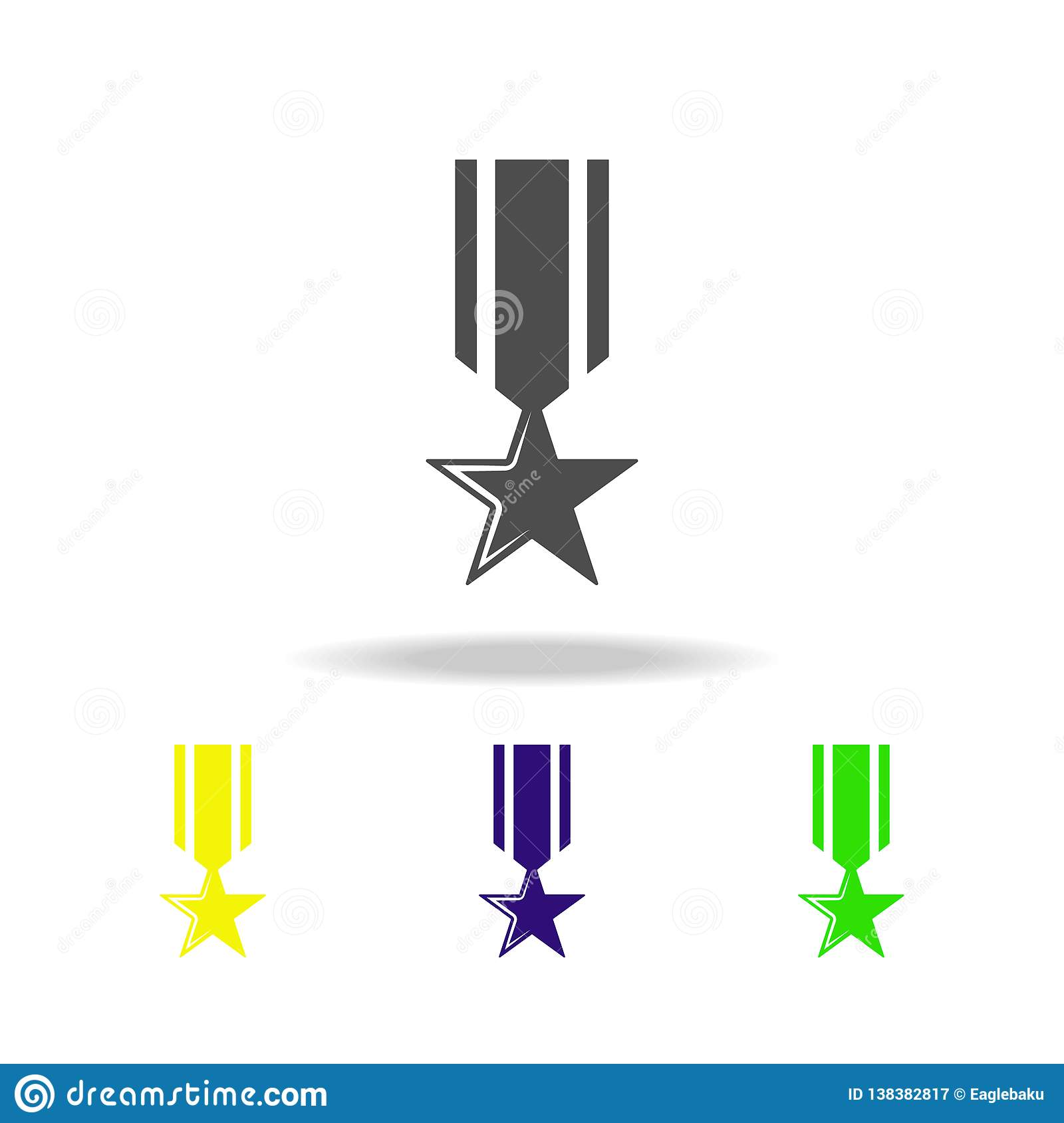 Medal, Weapon Colored Icons  Element Of Military