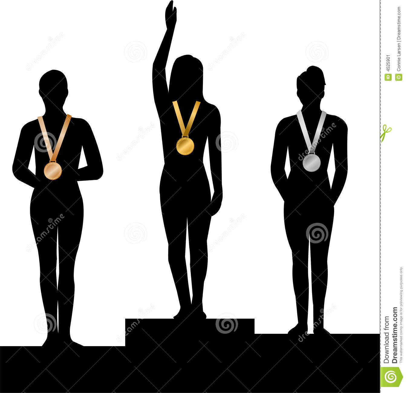 Illustration of a podium, with three medal winners...gold, silver and ...
