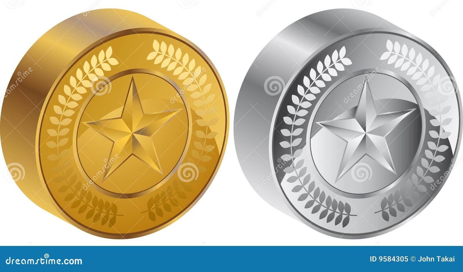 Medalhas da moeda da estrela 3D
