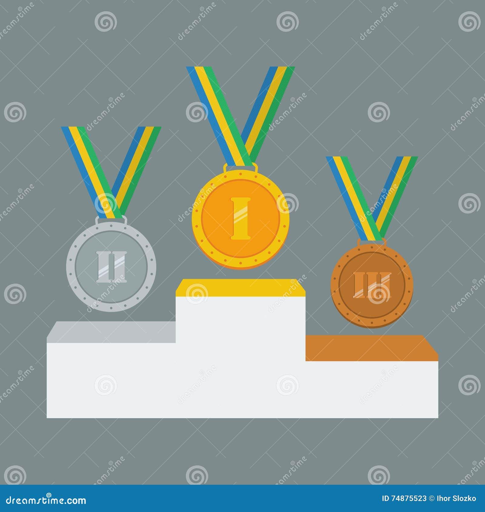 Medalhas do ouro, as de prata e as de bronze no suporte branco