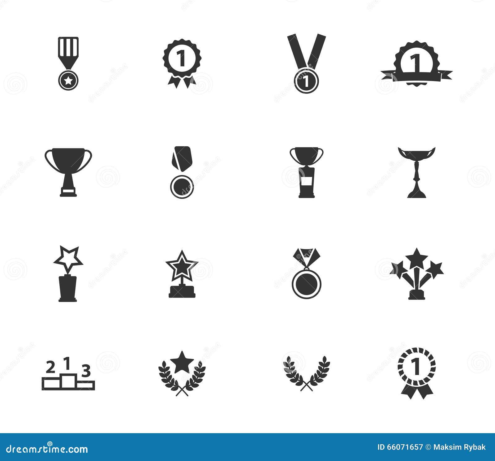 Medaljer och för tropheys symboler enkelt