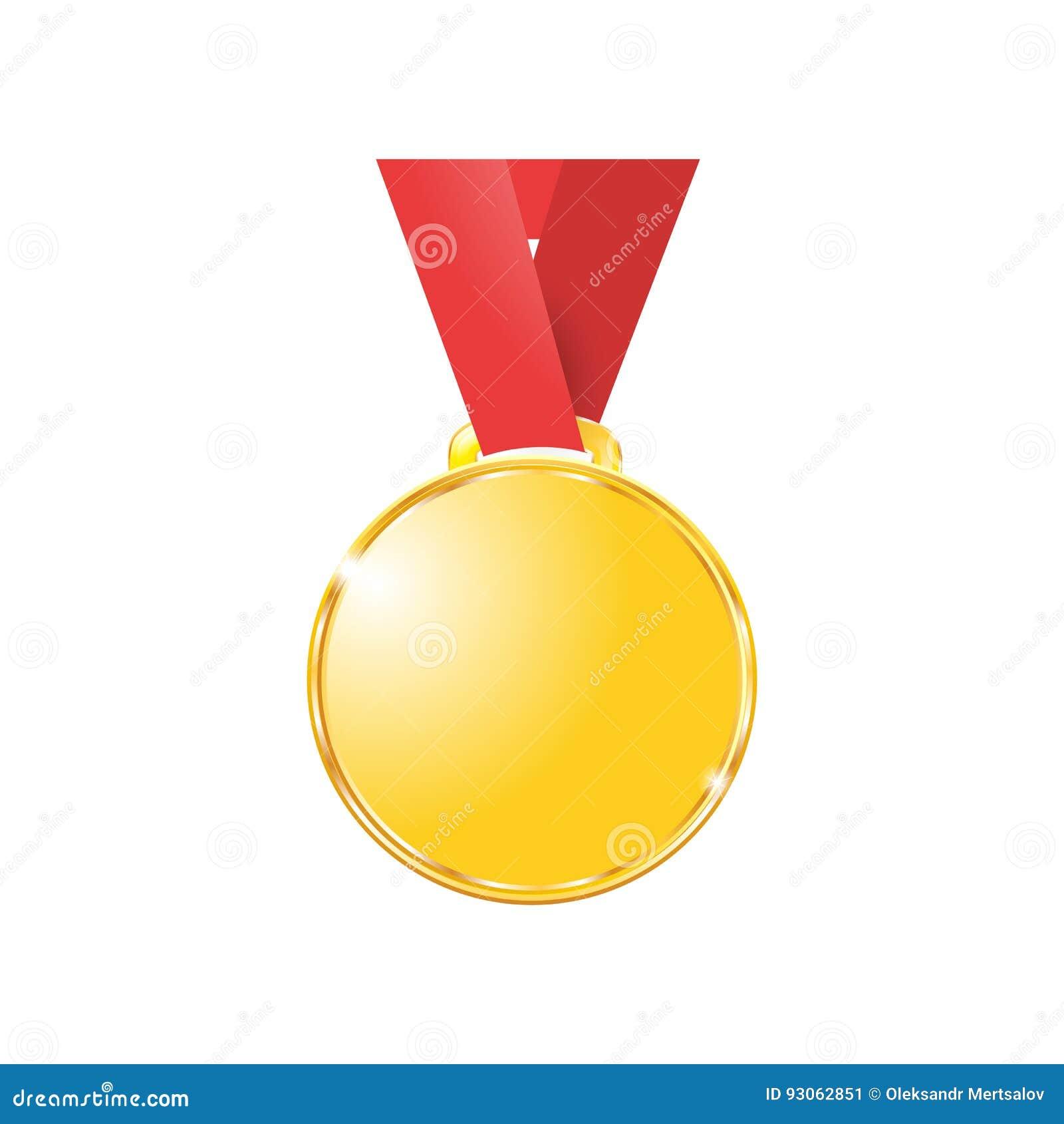 Medaljer som är guld- på ett rött band som isoleras på vit bakgrund