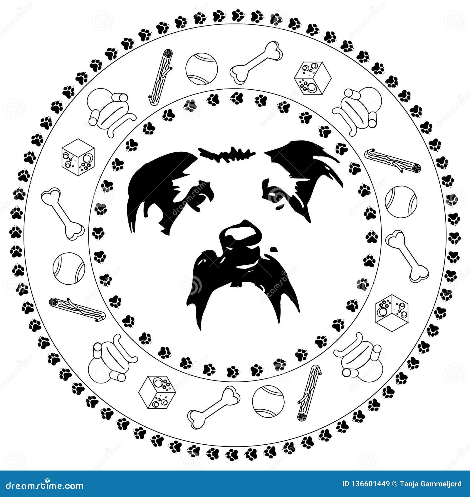 Medaljong för hundhuvud
