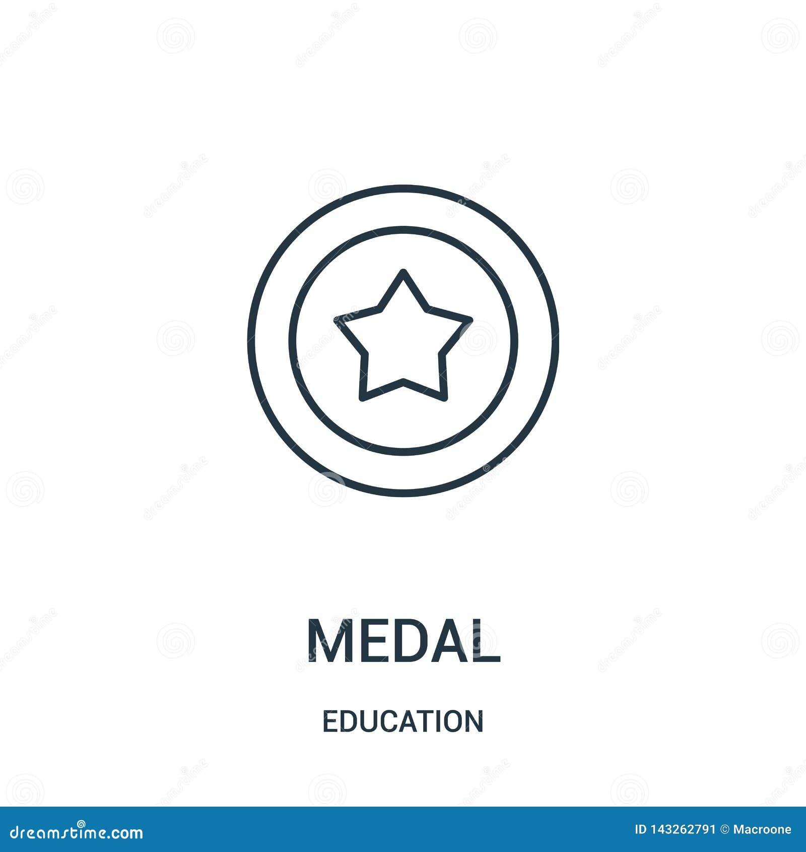 Medaljsymbolsvektor fr?n utbildningssamling Tunn linje illustration f?r vektor f?r medalj?versiktssymbol