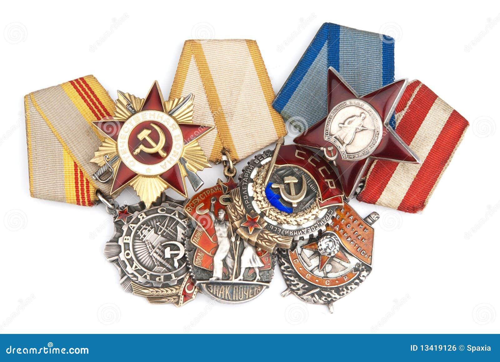 Medallas Militares Rusas De La Segunda Guerra Mundial Imagen de ...