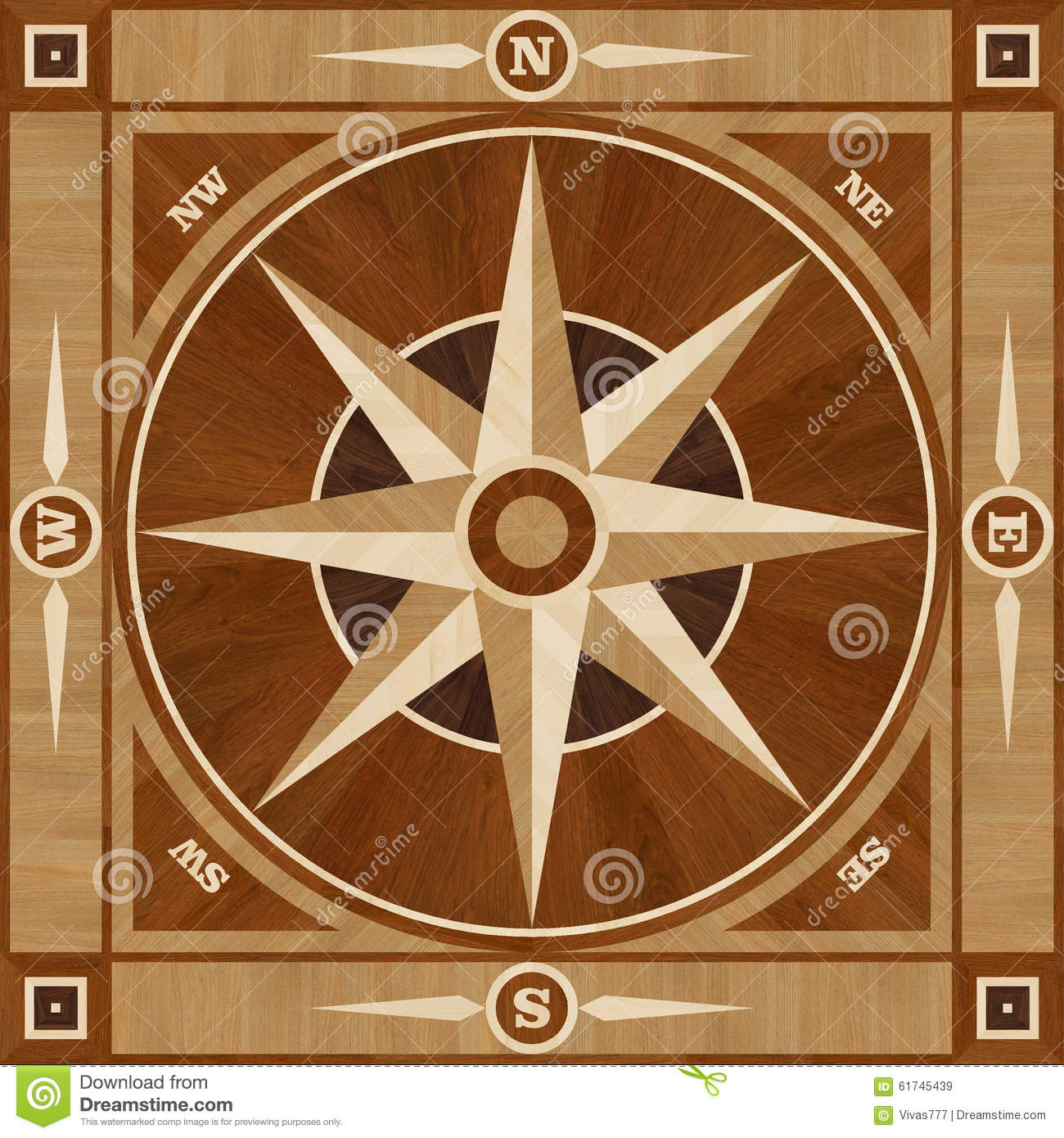 Medallion Design Parquet Floor Compass Rose Stock