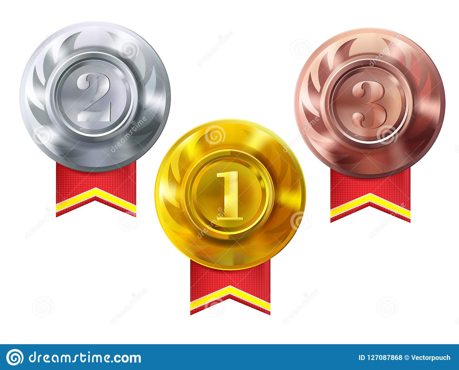 Medals gold, silver, bronze vector champion awards
