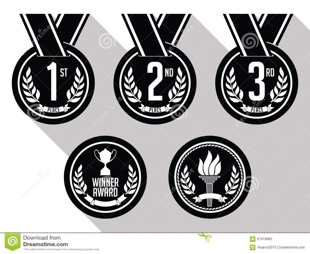 medals with ribbon flat set of gold  silver and bronze first place ribbon clip art large first prize ribbon clip art
