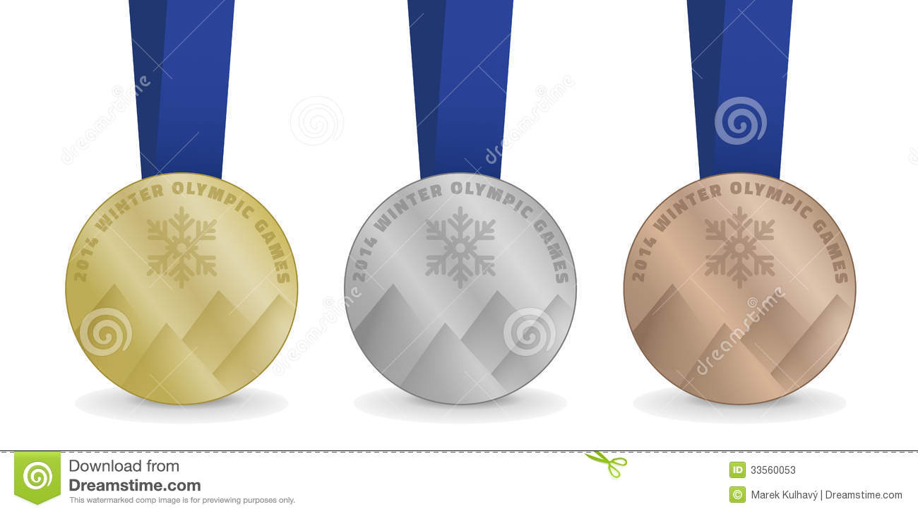 vector medals for winter olympic games 2014 stock image