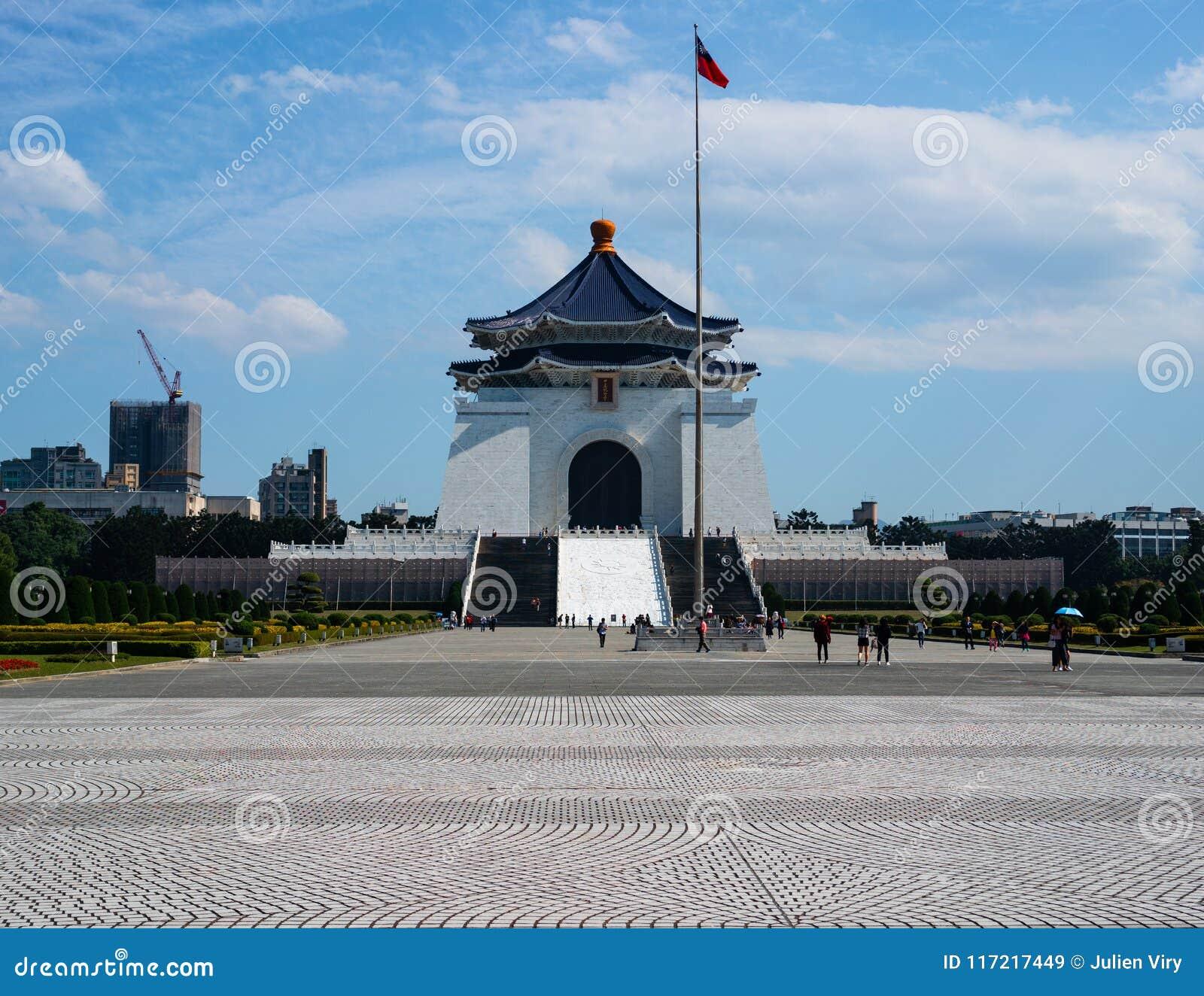 Medborgare Chiang Kai-shek Memorial Hall i Taipei Taiwan