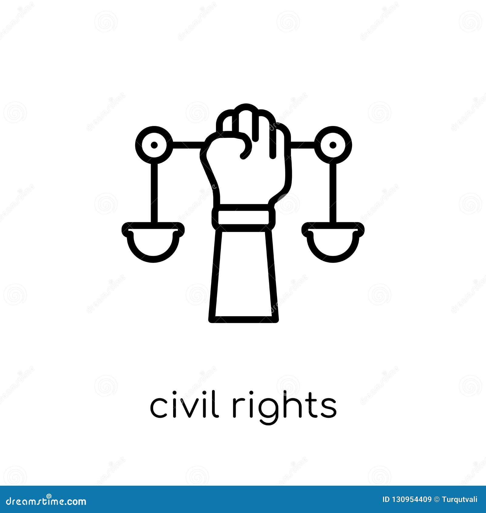 Medborgerlig rättighetsymbol Moderiktiga moderna plana linjära vektormedborgerliga rättigheter