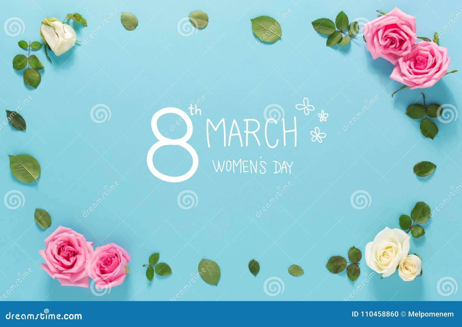 Meddelande för dag för kvinna` s med rosor och sidor