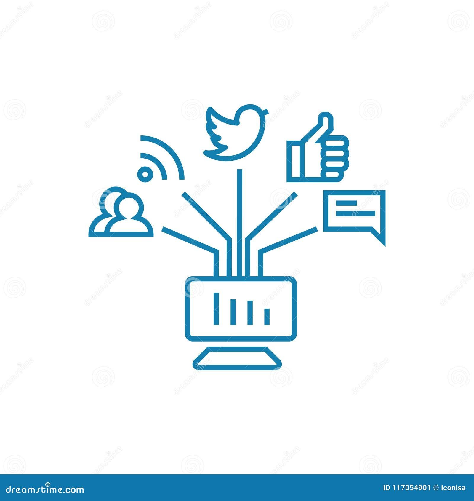 Mededeling in het sociale concept van het netwerken lineaire pictogram Mededeling in het sociale vectorteken van de netwerkenlijn