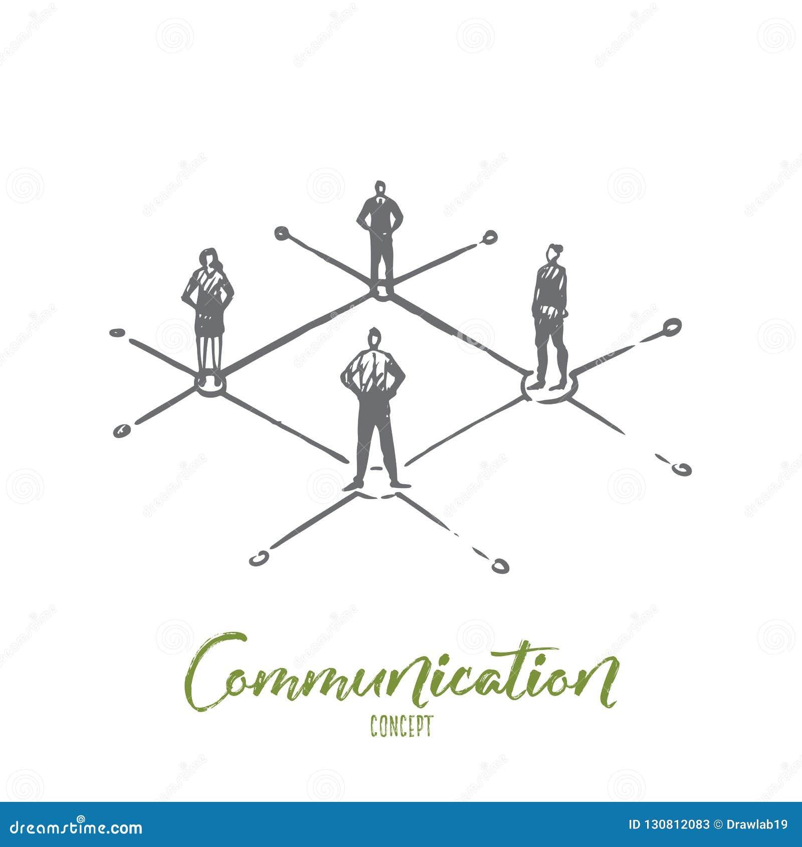 Mededeling, mensen, zaken, groep, besprekingsconcept Hand getrokken geïsoleerde vector