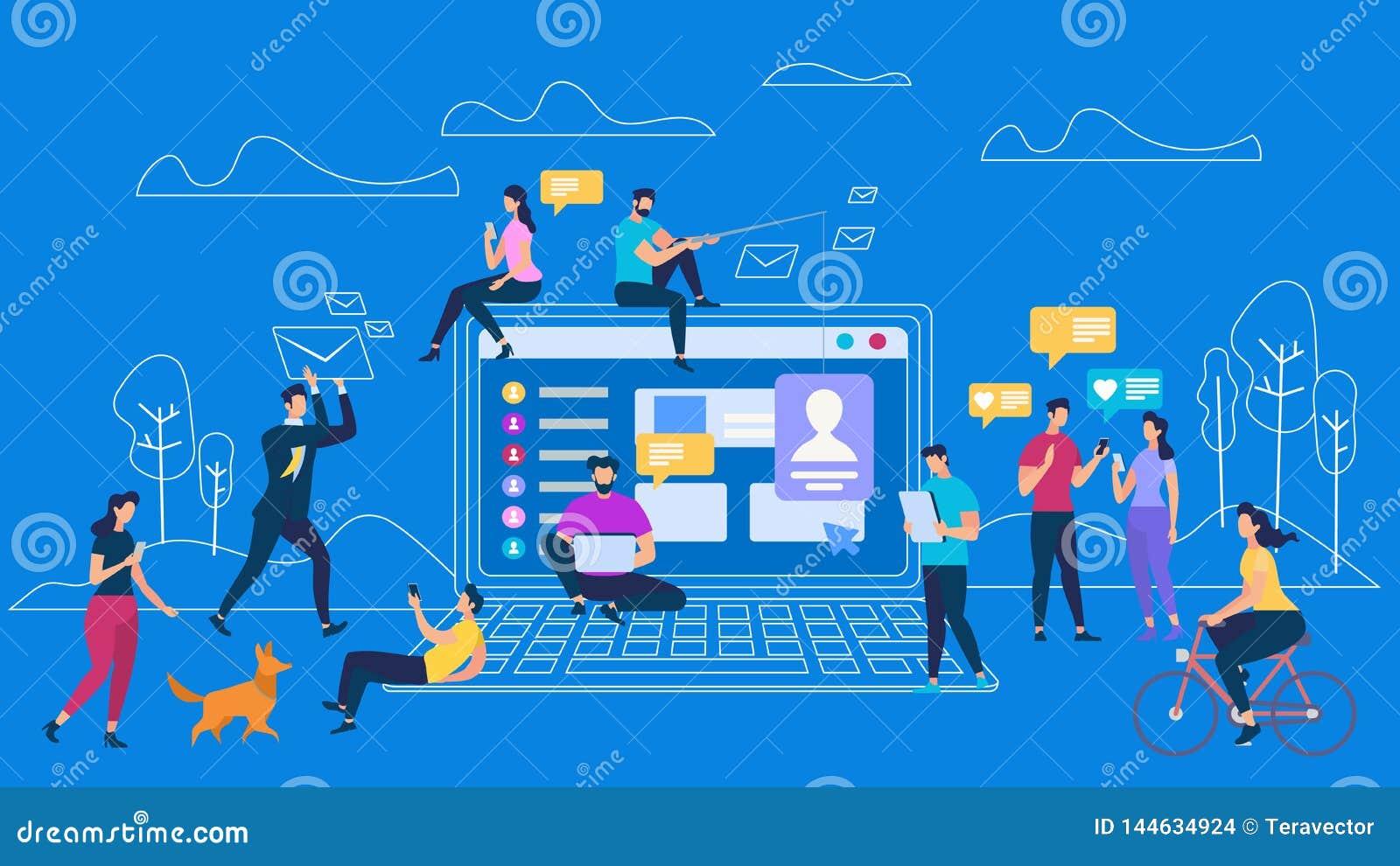 Mededeling van mensen de digitale apparaten networking