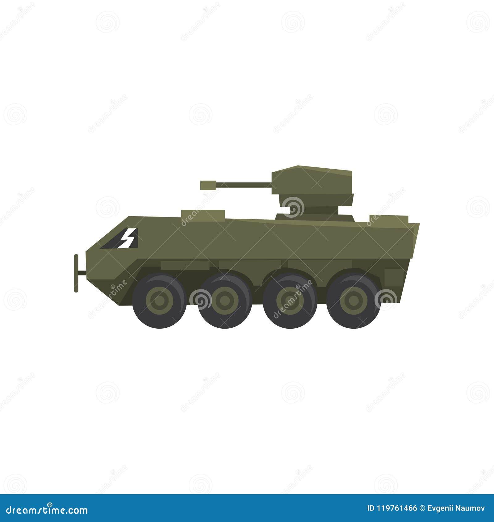 Medel för bepansrat infanteri, armémaskin, skurkroll, special transportvektorillustration på en vit bakgrund