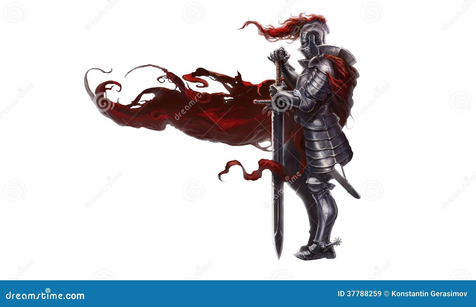 Medeltida riddare med det långa svärdet