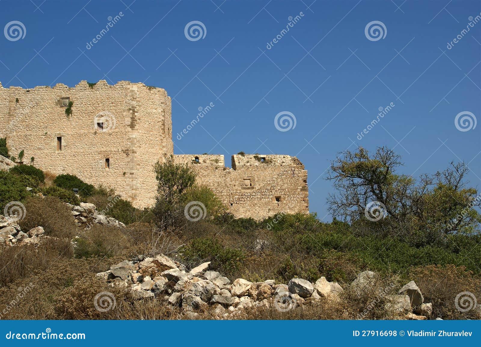 Medeltida slott av Kritinia i Rhodes Grekland