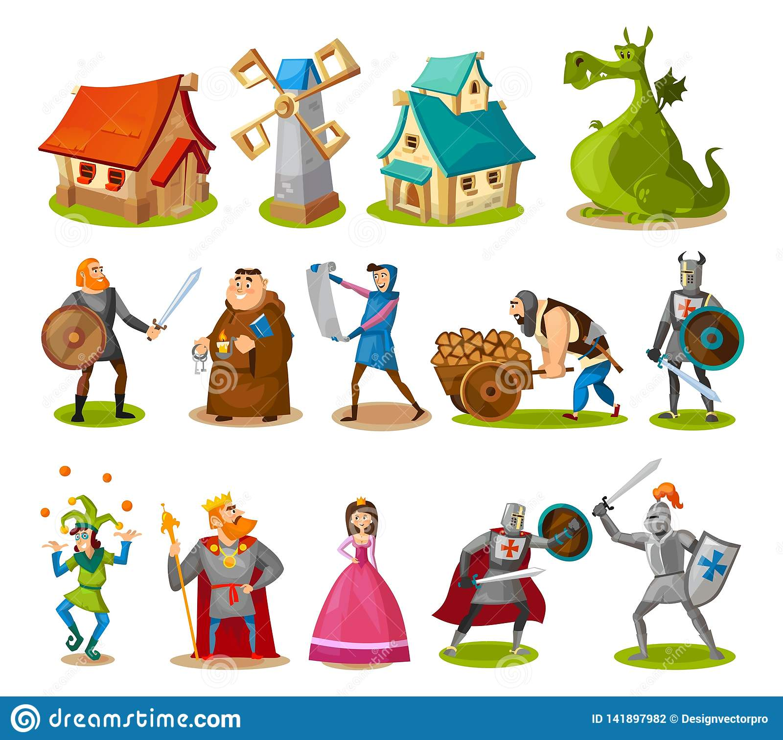 Medeltida tecken och byggnadssamling Tecknad filmriddare, prinsessa, konung, drake, byggnader etc. Vektorsagaobjekt