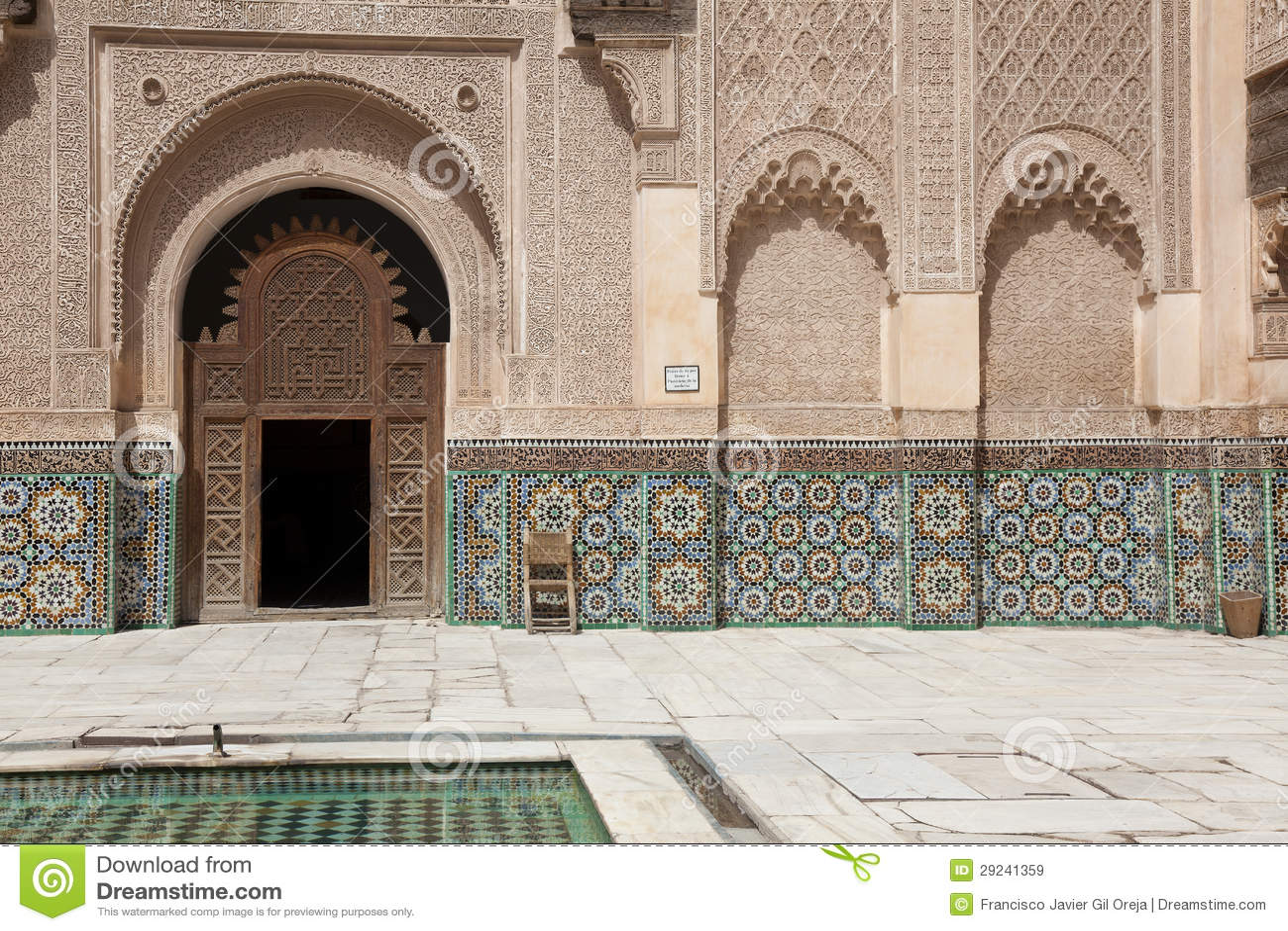 Download Medersa Ben Yousef, C4marraquexe Imagem de Stock - Imagem de tetos, indoor: 29241359